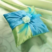 Blue And Green Wedding Ring Cushion